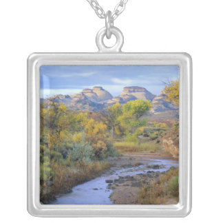 UTAH. USA. Pleasant Creek in autumn at sunrise. Silver Plated Necklace