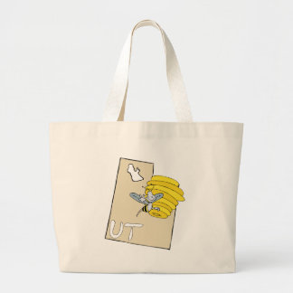 Utah UT Cartoon Map with Bee Hive Cartoon Art Jumbo Tote Bag