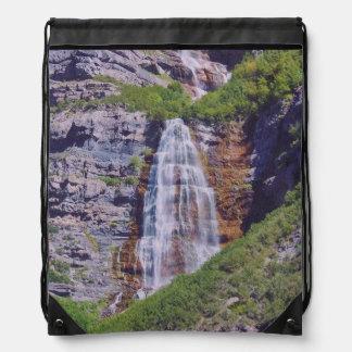 Utah Waterfall #1b- Drawstring Bag - Woven Look