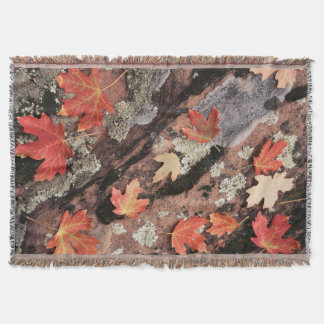 Utah, Zion National Park, Patterns of autumn Throw Blanket