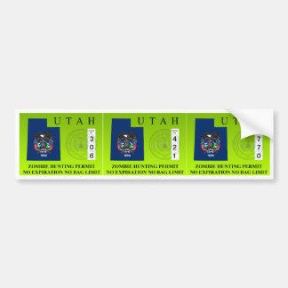 Utah Zombie Hunting Permit Bumper Sticker