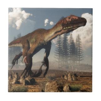 Utahraptor dinosaur in the desert small square tile