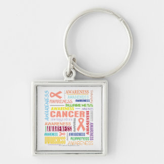 Uterine Cancer Awareness Collage Silver-Colored Square Key Ring
