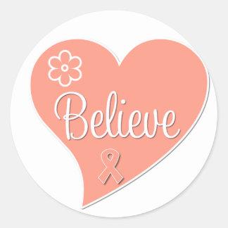 Uterine Cancer Believe Heart Round Sticker