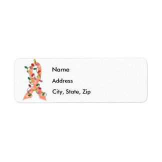 Uterine Cancer Christmas Lights Ribbon Return Address Label