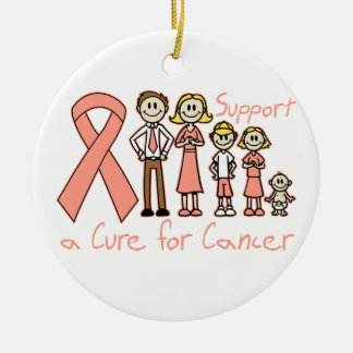 Uterine Cancer Family Support A Cure Round Ceramic Decoration