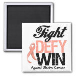 Uterine Cancer Fight Defy Win Square Magnet