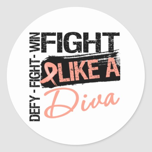 Uterine Cancer - Fight Like a Diva Sticker