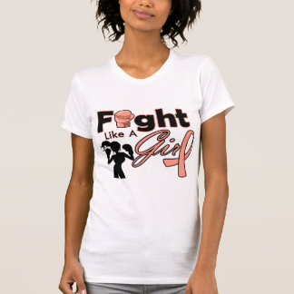Uterine Cancer Fight Like A Girl Silhouette T-shirts