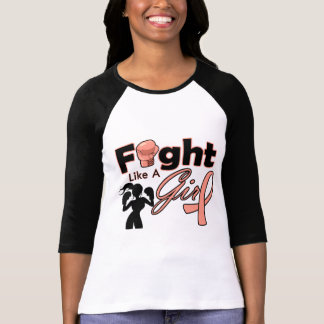 Uterine Cancer Fight Like A Girl Silhouette Shirts