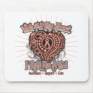 Uterine Cancer Heart I Fight Like A Girl Mouse Pads