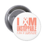 Uterine Cancer I Am Unstoppable Button