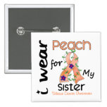 Uterine Cancer I Wear Peach For My Sister 43 15 Cm Square Badge