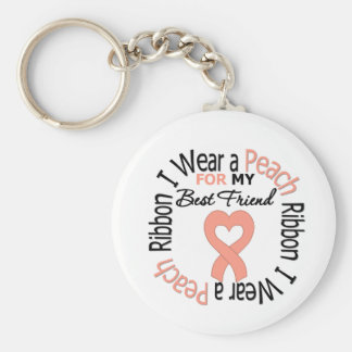 Uterine Cancer I Wear Peach Ribbon Best Friend Basic Round Button Key Ring