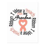 Uterine Cancer I Wear Peach Ribbon For My Grandma Post Cards