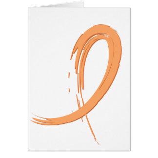 Uterine Cancer Peach Ribbon A4 Greeting Card