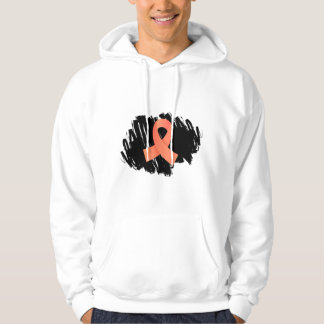 Uterine Cancer Peach Ribbon With Scribble Hoodie
