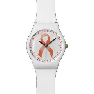 Uterine Cancer Peach Ribbon Wrist Watch