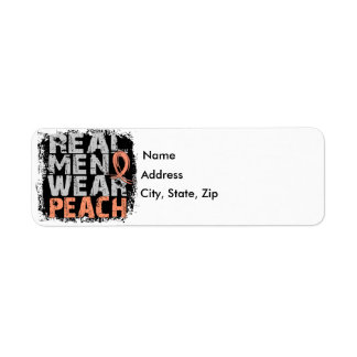Uterine Cancer Real Men Wear Peach Return Address Label