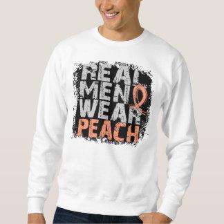 Uterine Cancer Real Men Wear Peach Sweatshirt