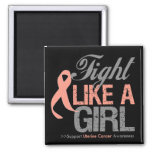 Uterine Cancer Ribbon - Fight Like a Girl Magnets