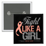 Uterine Cancer Ribbon - Fight Like a Girl Pin