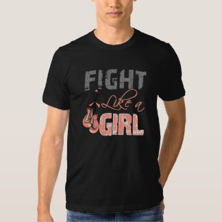 Uterine Cancer Ribbon Gloves Fight Like a Girl Tee Shirts