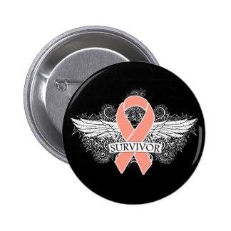 Uterine Cancer Scroll Winged SURVIVOR Ribbon 6 Cm Round Badge