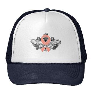 Uterine Cancer Scroll Winged SURVIVOR Ribbon Hats