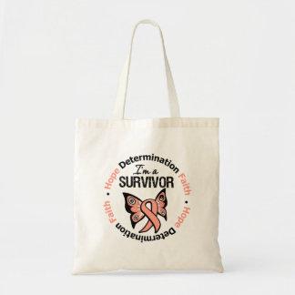 Uterine Cancer Survivor Hope Determination Faith Budget Tote Bag