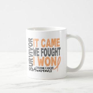 Uterine Cancer Survivor It Came We Fought I Won Basic White Mug