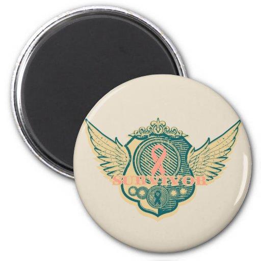 Uterine Cancer Survivor Vintage Winged Magnets