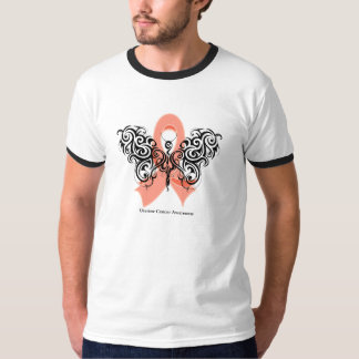 Uterine Cancer Tribal Butterfly Ribbon T-Shirt