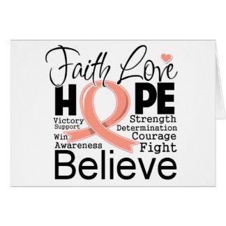 Uterine Cancer Typographic Faith Love Hope Greeting Card