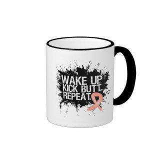 Uterine Cancer Wake Up Kick Butt Repeat Ringer Mug