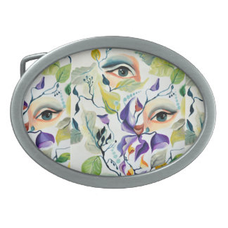 Utopian Avant-Garde Surreal Eyes Design Oval Belt Buckles