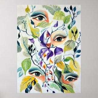 Utopian Psychedelic Surreal Eyes Design Poster