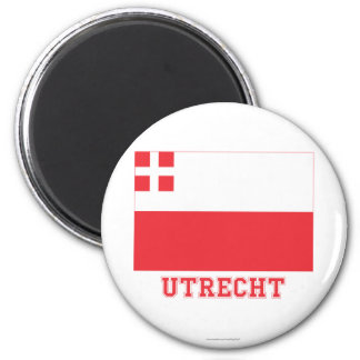 Utrecht Flag with name 6 Cm Round Magnet