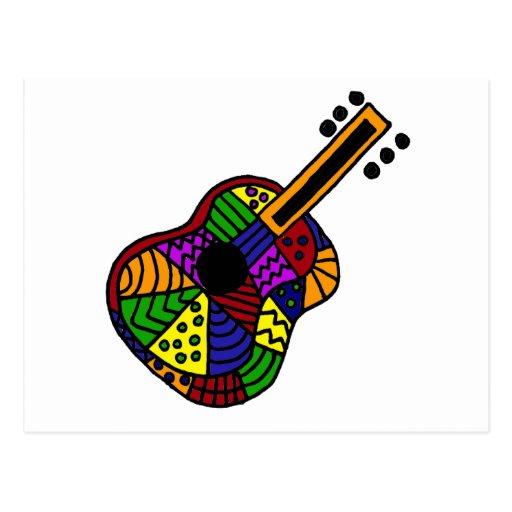 UV- Colorful Folk Art Guitar Design Postcard