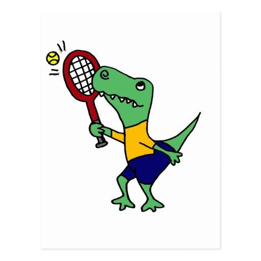 UV- Funny T-Rex Dinosaur Playing Tennis Cartoon Postcard ...