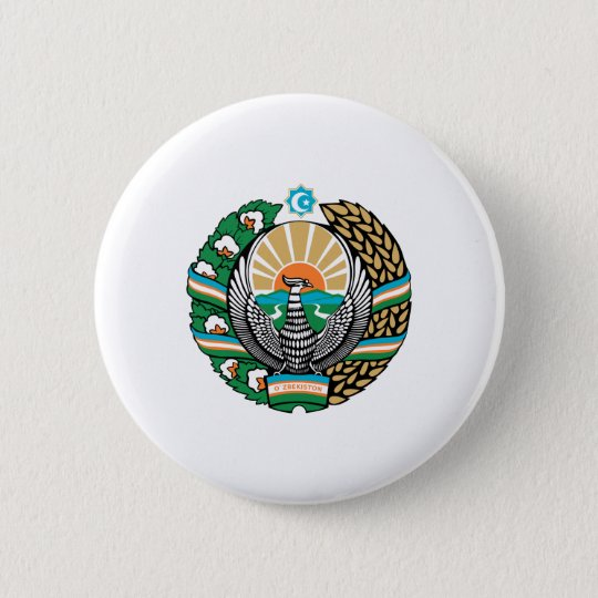 Uzbek coat of arms 6 cm round badge