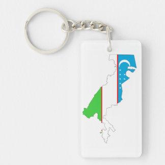 uzbekistan country flag map shape symbol key ring