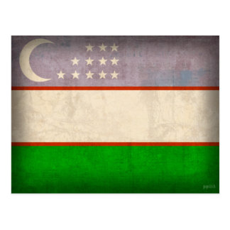 Uzbekistan Flag Distressed Postcards