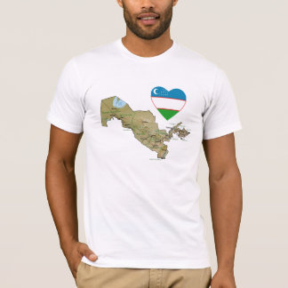 Uzbekistan Flag Heart and Map T-Shirt