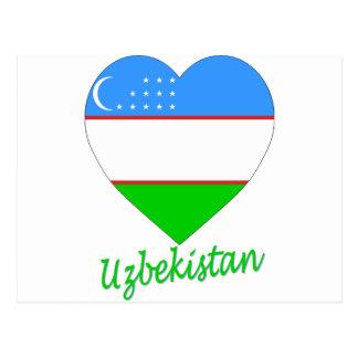 Uzbekistan Flag Heart Postcard