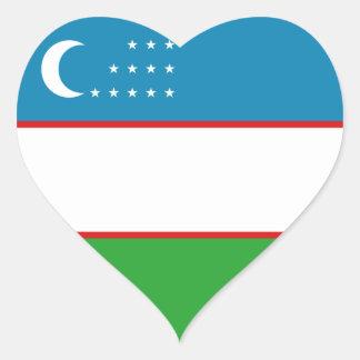 Uzbekistan Flag Heart Sticker