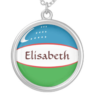 Uzbekistan Flag + Name Necklace