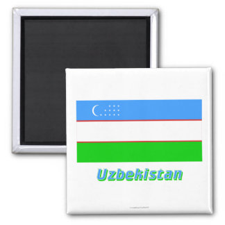 Uzbekistan Flag with Name Magnet