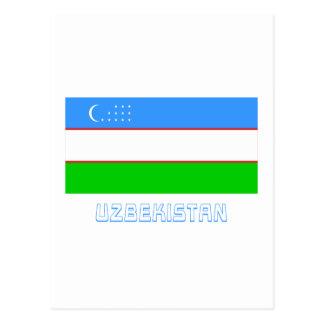 Uzbekistan Flag with Name Postcard
