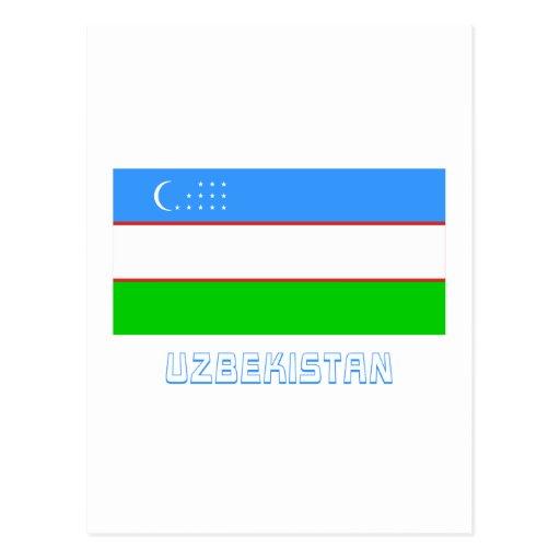 Uzbekistan Flag with Name Post Card